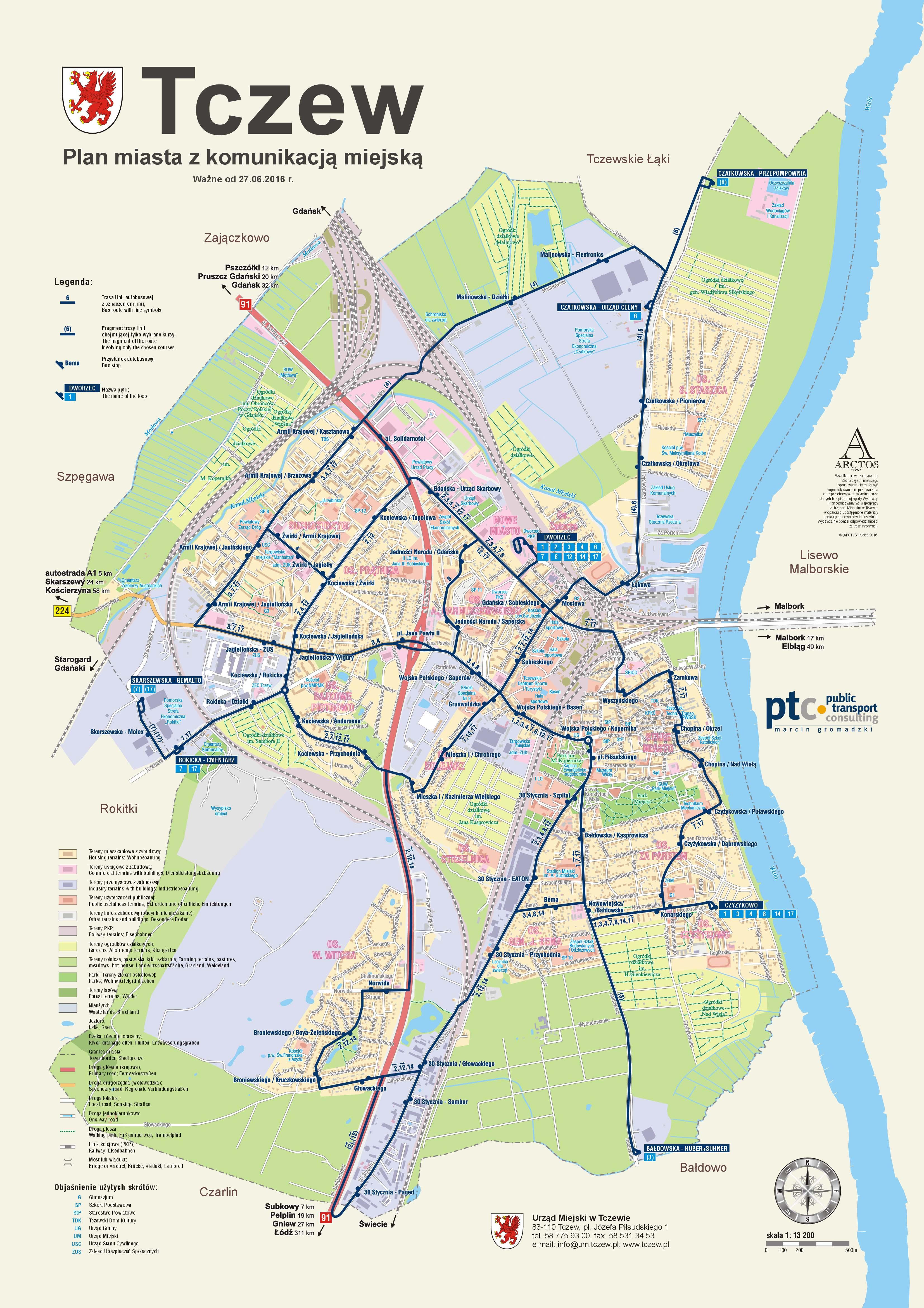 Mapa Tczewa z liniami autobusowymi